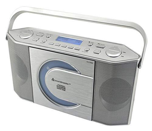 Soundmaster RCD1770SI DAB+ UKW Radio CD-MP3 Spieler CD-R und CD-RW Tragbar Batterie- und Netzbetrieb LCD Display mit Datum und Uhrzeit USB- und Kopfhöhreranschluss
