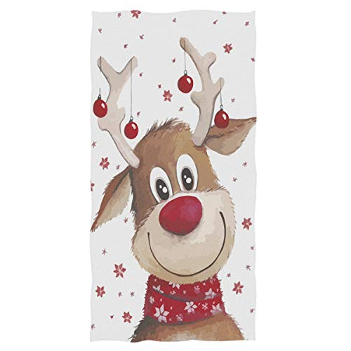 """Wamika Cute Xmas Reindeer Hand Towels Winter Snowflakes Deer Face Towel Highly Absorbent Soft Guest Tea Towel Portable Kitchen Dish Washcloths Bath Decor Christmas Decorations 16"""" x 30"""""""