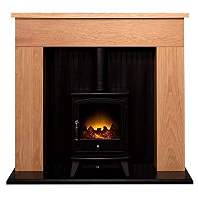 Adam Innsbruck Stove Suite in Oak with Aviemore Electric Stove in Black, 48 Inch