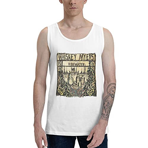 EUBCS Whiskey Myers Mens Summer Cool Sport Tank Top, Gym Workout Base Layer Tee for Guys Beach Vacation White