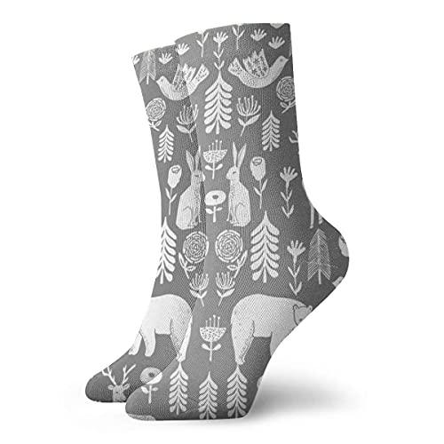 Caswyy Socks Calcetines Calcetines de invierno para mujer y hombre, diseño de animales del bosque, color gris largo 30 cm