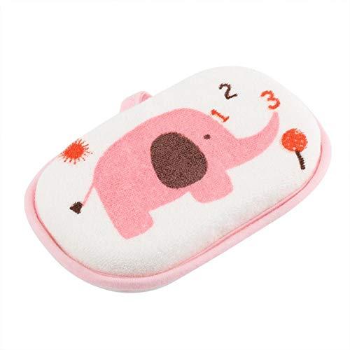Material de tela de algodón, esponja de baño infantil, lavable, lata reutilizable colgada para secar,(Elephant pink)