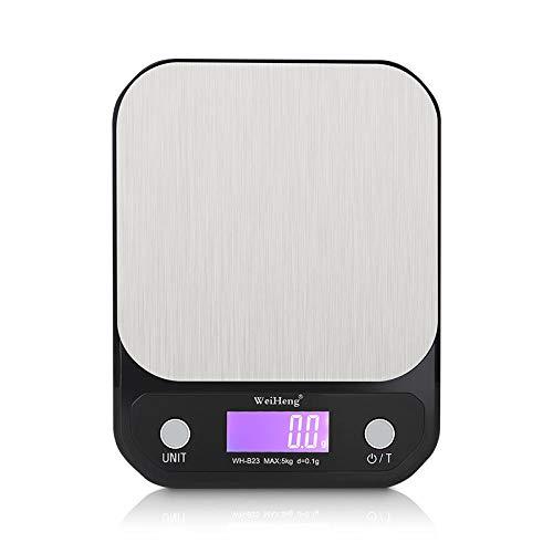 1 g 10 kg / 1 g 3 kg / 0 1 g 5 kg / 0 1 g tragbare Digitalwaage LED-Waage mit Waage Lebensmittelwaage Küchenwaage-5 kg-0,1 g schwarz