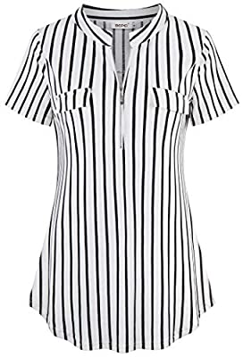 BEPEI Womens Short Sleeve Plaid Tunic Shirt Zip up V Neck Work Casual Blouse Top