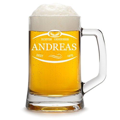 polar-effekt Bierkrug Personalisiert mit Gravur eines Namens und Jahreszahl - Bierseidel Geschenk zum Geburtstag - Motiv Umrandung mit Ähren 0,5l