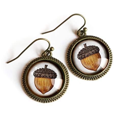 Acorn Earrings in Simple Bezel