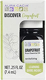 Aura Cacia Discover 100% Pure Grapefruit Essential Oil | GC/MS Tested for Purity | 7.4 ml (0.25 fl. oz.) in Box with Uses ...