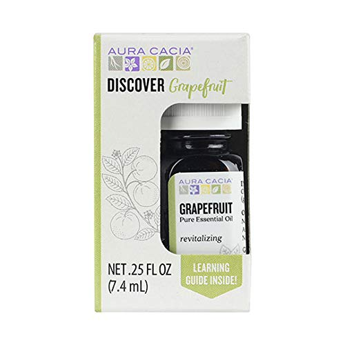 Aura Cacia Discover 100% Pure Grapefruit Essential Oil | GC/MS Tested for Purity | 7.4 ml (0.25 fl. oz.) in Box with Uses Insert | Citrus paradisi