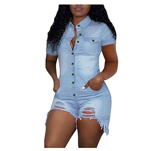 xoxing Women's Shorts Pants Large Hole Denim One Piece Shorts Jumpsuits