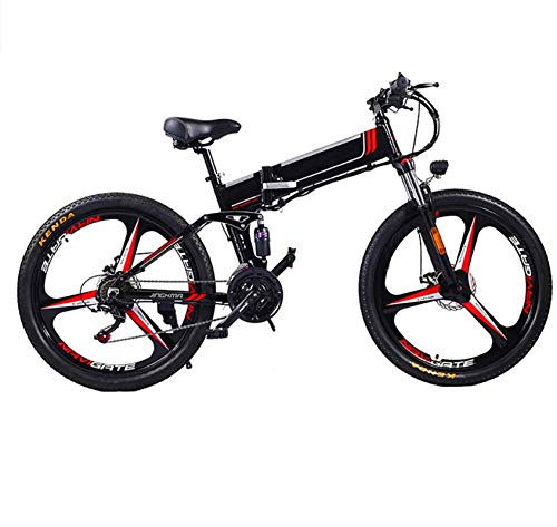 RDJM Bici electrica, 26 Pulgadas de actualizar el Marco Fat Tire Bicicleta eléctrica 48V 10/12.8AH batería Auxiliar for Adultos Bici 350W Motor Nieve de la montaña E-Bici (Color : Black, Size : 10AH)