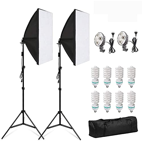 Softbox - Juego de iluminación para estudio fotográfico (incluye 2 bombillas de 50 x 70 cm, 5500 K, luz diurna, 8 bombillas de 135 W y 2 trípodes plegables)
