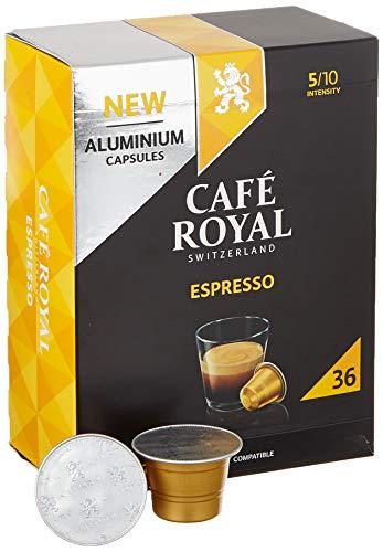 Café Royal 36 Espresso Nespresso®* kompatible Kapseln aus Aluminium - Intensität 5/10 - Großpackung 36 Kaffeekapseln - UTZ-zertifiziert - Kompatibel mit Nespresso®* Kaffeemaschinen