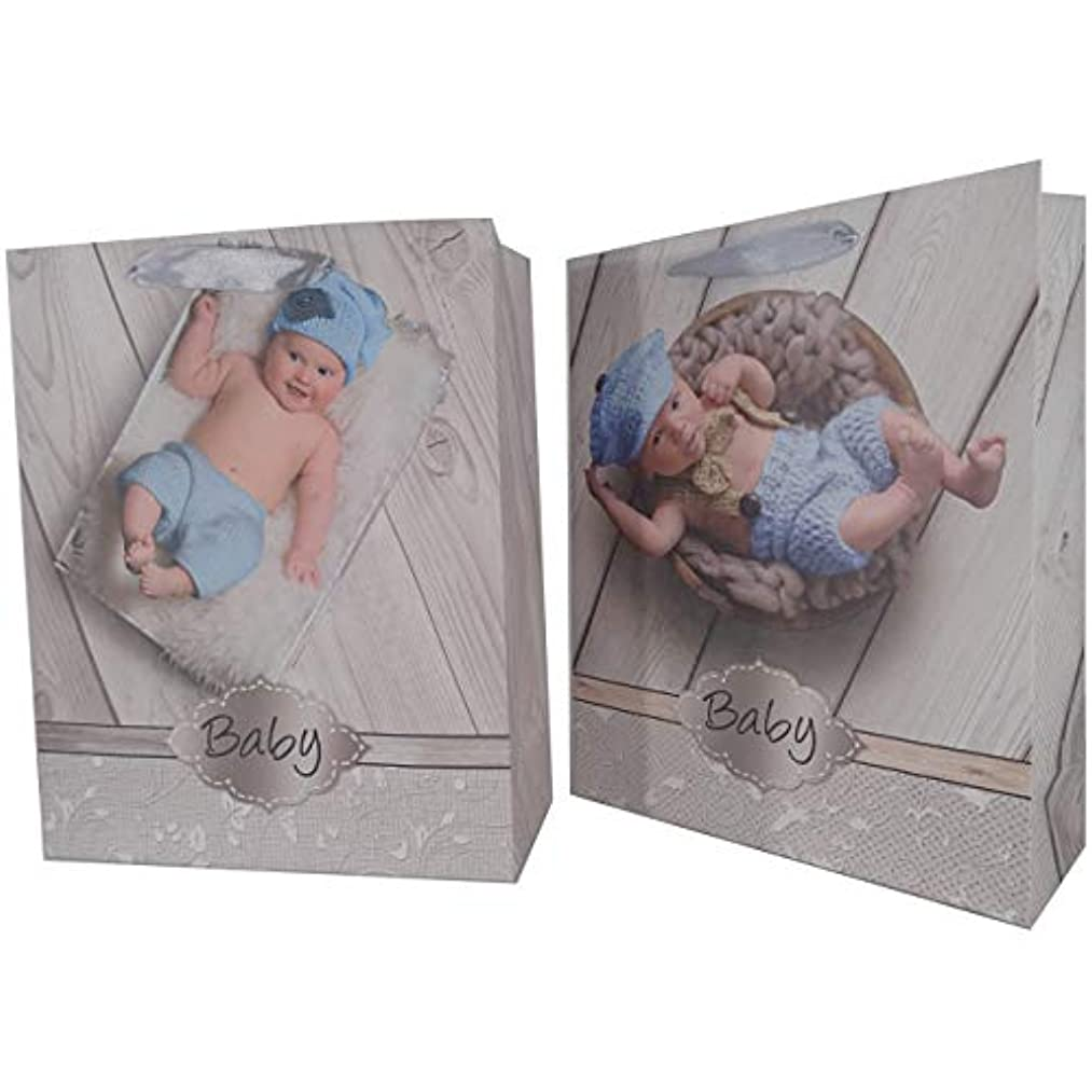 LARUX Baby Shower Boy Gift Bag with Tissue Paper Greeting Card Envelop Dot Sticker Long Lasting Medium Size Set of 2 (Baby in Blue)