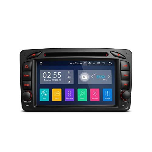 7 pulgadas Android 10 Radio estéreo para automóvil Reproductor de DVD Navegación GPS para Mercedes Benz Clase C W203 G-W463 CLK, Unidad de cabezal doble Din compatible con Android Auto Car Auto Play