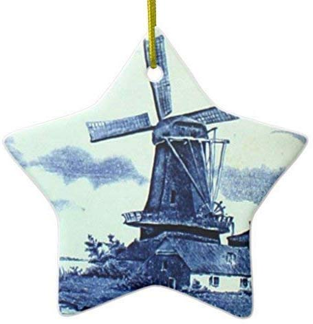 Mesllings uniek ontworpen kerst opknoping ornament vintage antieke Delfts blauwe tegel windmolen