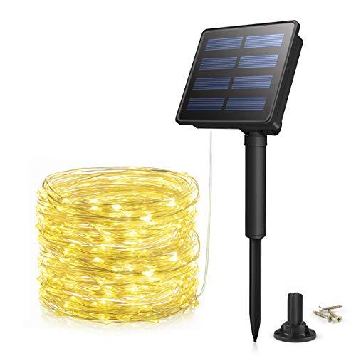 Luces Solares Cadena Morpilot Guirnaldas Luces Exterior Solar 200 LEDs 22m Impermeable con 8 modos iluminación Decoración para Navidad,Jardín, Fiesta, Boda, Árbol [Clase de eficiencia energética A+++]