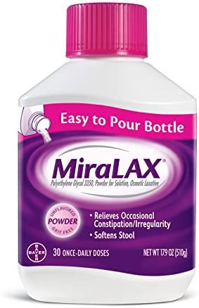 MiraLAX Laxative Powder for Gentle Constipation Relief, #1 Dr. Recommended Brand, 30 Dose Polyethylene Glycol 3350, stimulant-free, softens stool, Red, 1.11 Pound (pack of 1)