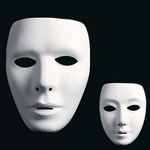 Amakando Weiße Männer Maske Ball Maske Gesichtsmaske Neutrale Herren Phantommaske Faschingsmaske Karnevalsmaske Opernmaske