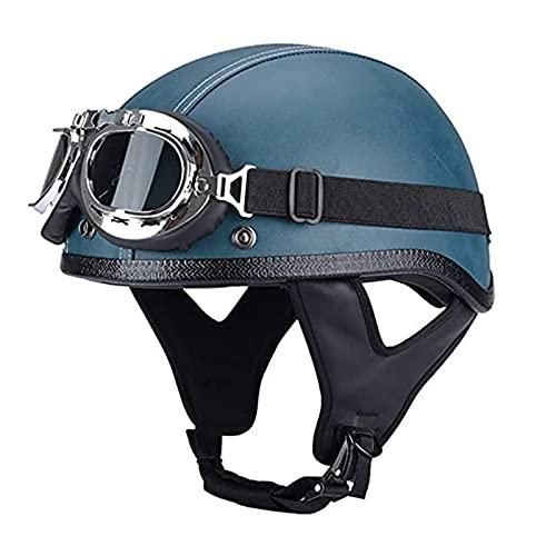 F&FSH· Nuevo Casco de Motocicleta, Gorra de Calavera para Adultos, Medio Casco de Cuero para Motocicleta, Casco Retro Vintage para ciclomotor Chopper, Casco Abierto Aprobado por el Dot para Hombres