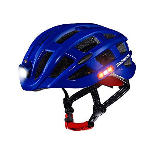 WangsCanis casco de ciclista ajustables 3 tipos de alerta de luz led impermeable seguridad especializada bicicleta de carretera casco con frontales/laterales traseras/luces led(azul,un tamaño)