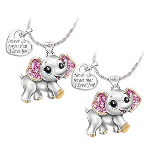 Happyyami 2pcs Elephant Pendant Necklace Animal Jewelry Never Forget That I Love You Heart Pendant for Woman Girl Lady Gift (Necklace and Pendent)