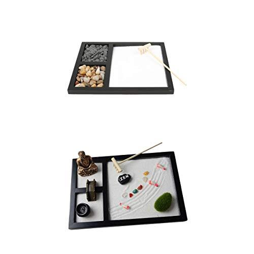 MagiDeal 2 Set Holz Zen Sandkasten Mini Desktop Sandkasten Garden Office Ornamente