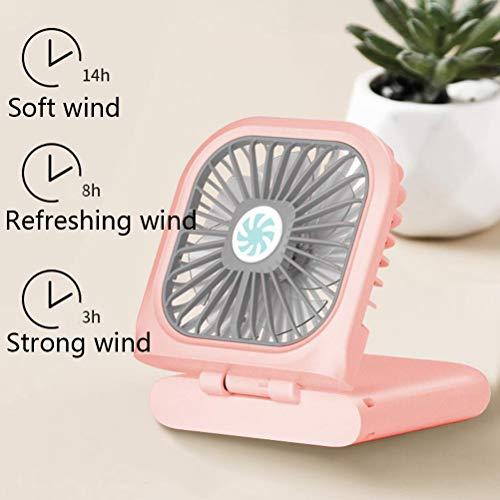 Multifunctionele Mini USB Kleine Ventilator, Opknoping Nek Vouwen Zak Fans Met 3000Mah Power Bank En Mute Lanyard Ontwerp Voor Huis Outdoor Reizen,Pink