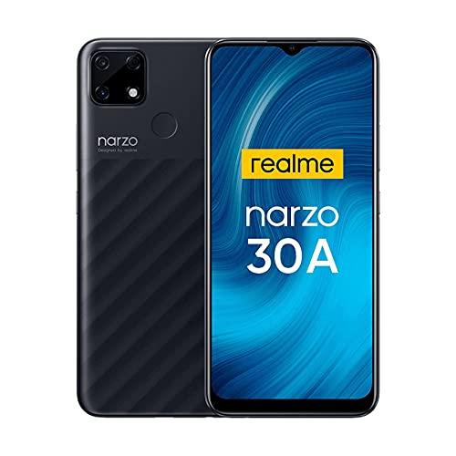 Realme Narzo 30A Smartphone Libre Mega Batería 6000mAh Carga Rápida 6.5' Pantalla HD+ 4GB + 64GB (SD 256GB) Cámara AI 13MP Teléfonos Móviles 4G Dual SIM Android 10 Face ID