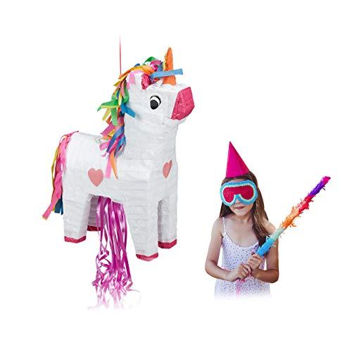 Relaxdays Pinata Einhorn, zum Aufhängen, Kinder, Mädchen, Geburtstag, zum Befüllen, Papier, HxBxT 51 x 14 x 35 cm, bunt