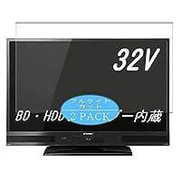 2枚 VacFun ブルーライトカット フィルム , Mitsubishi Electric 三菱電機 32V型 REAL LCD-V32BHR6 液晶 テレビ 向けの ブルーライトカットフィルム 保護フィルム 液晶保護フィルム(非 ガラスフィルム 強化ガラス ガラス )