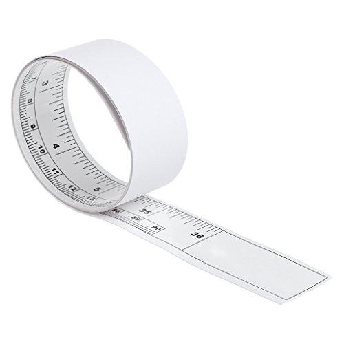 ZChun zelfklevende metrische meetlint vinyl zilver linialen voor naaimachinefijzers, 90cm, 1