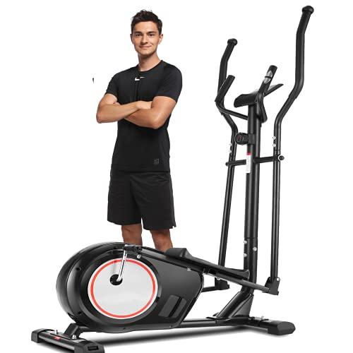 ANCHEER APP Elliptical Machine, Elliptical Trainer with 8 Level of Magnetic Resistence, Multi-Function LCD Monitor, Heart Rate Sensor, & 330 lbs Weight Capacity for Home Cardio Use (Black)