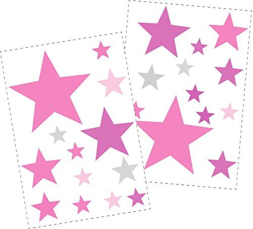 25 Sterne Wandtattoo fürs Kinderzimmer - Wandsticker Set - Pastell Farben, Baby Sternenhimmel zum Kleben Wandaufkleber Sticker Wanddeko -...