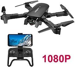 Adsvtech WiFi FPV RC Drone con cámara Doble 1080 HD para Principiantes Quadcopter Plegable, Belleza automática, fotografía de Gestos, Vuelo de trayectoria Negro
