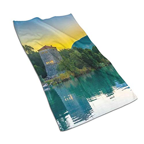 Ccsoixu Kitchen Dish Towels Wash Cloth Car Household Pet Bath Towel,Venetian Tower Archaeological Site National Park at Sunrise Lake Sanctuary Landscape,27.5 Inch X15.7Inch