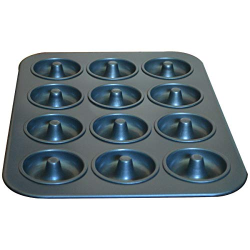 Donut Baking Pans, Nonstick 12 Cavity Doughnut Pan , Carbon Steel Donut Mold and Mini Bagel Pan for Baking -Gray