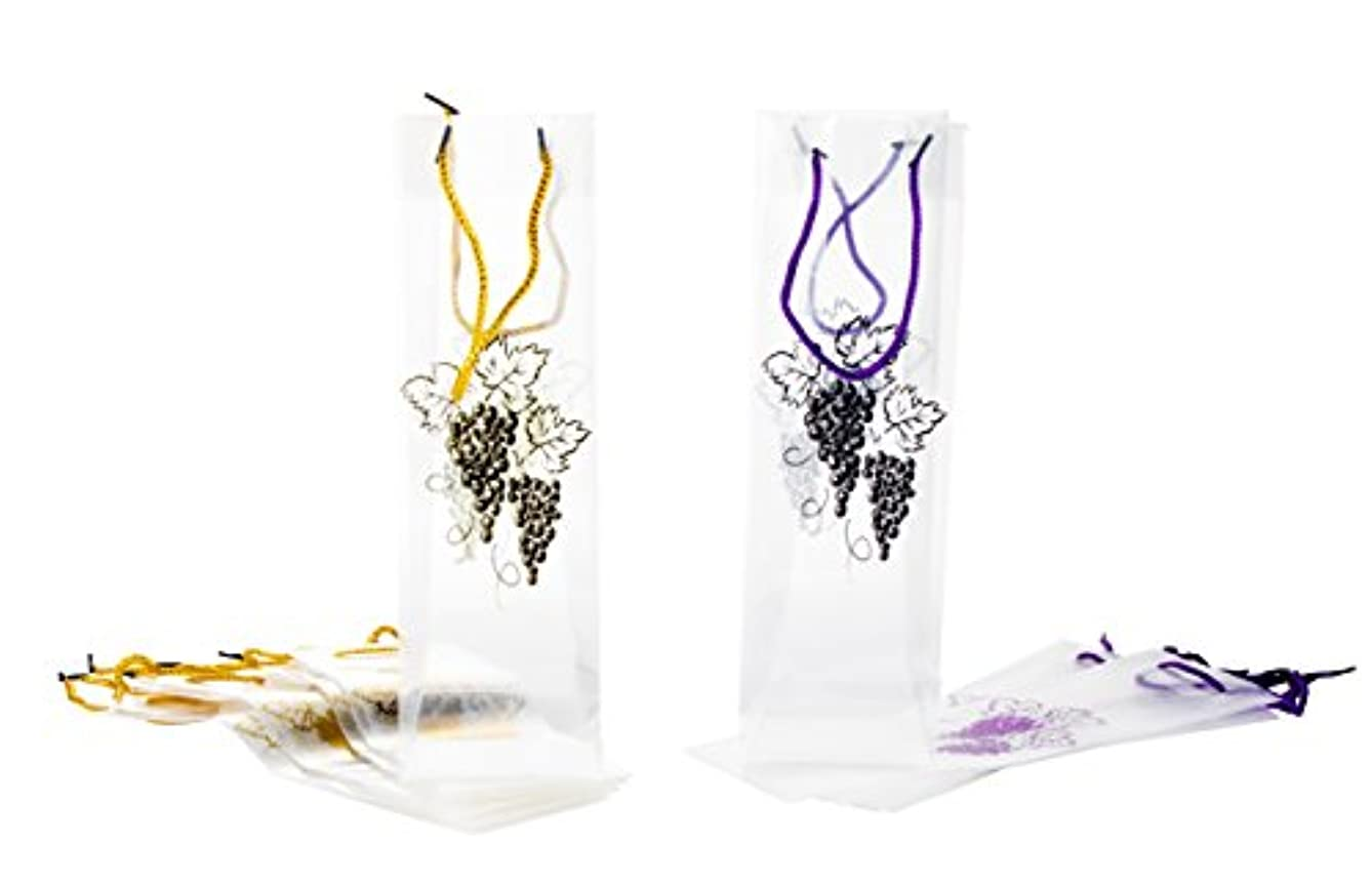 Wine Gift Bags - 12-Pack Wine Bags for Anniversary, Birthday, All Occasion - Vineyard Design/Gold and Purple Grapes Theme, Spirits and Wine Bottle Gift Bags with Handles