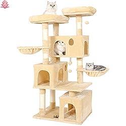 MSmask Kratzbaum für große Katzen, Kratzbaum groß mit 3 Katzenhöhlen Stabiler Katzenbaum mit Sisal-Kratzstangen, 2 Plattformen (Grau)
