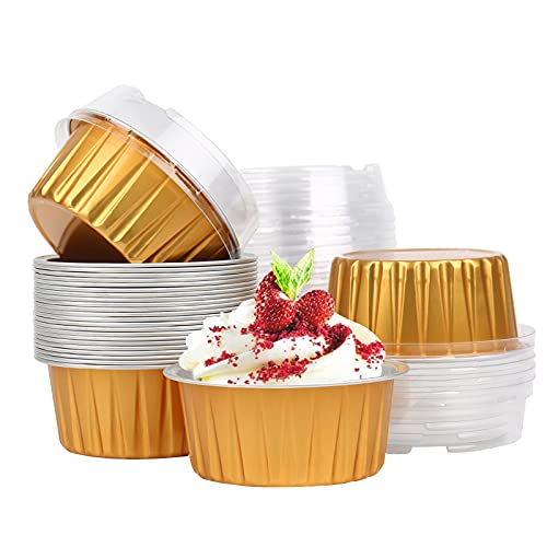 WMLBK Gold Baking Cups Cupcake Liner,25pcs 4 Ounce Aluminum Foil Cups with Lids,Disposable Foil Ramekins Pans,Muffin Liners Cups for Birthday Wedding Party (25pcs)