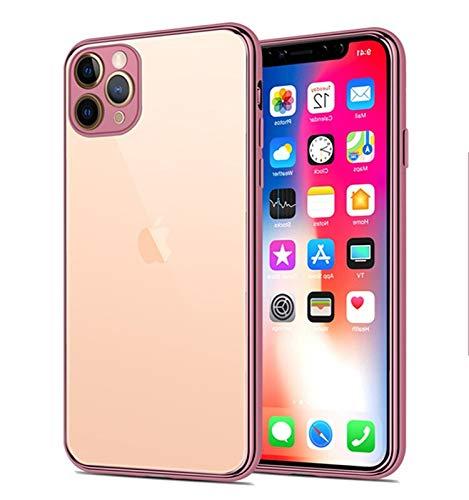 Funda telefónica de TPU Transparente Simple para iPhone 11 Pro MAX X XR XS MAX 7 8 6 6S Plus DE Silicona Soft SILICONAS A Prueba de Golpes (Color : Rose Gold, Material : For iPhone 6S)