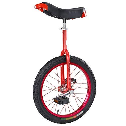 Einrad Rotes 24-Zoll/20-Zoll-Einrad für Erwachsene/Anfänger, 18-Zoll- /16-Zoll-Einrad-Einräder für Jungen Mädchen Kinder (9-15 Jahre) mit Rutschfestem Reifen (Size : 18inch)