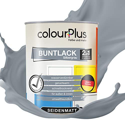 colourPlus® 2in1 Buntlack (750ml, RAL 7001 Silbergrau) seidenmatter Acryllack - Lack für Kinderspielzeug - Farbe für Holz - Holzfarbe Innen - Made in Germany