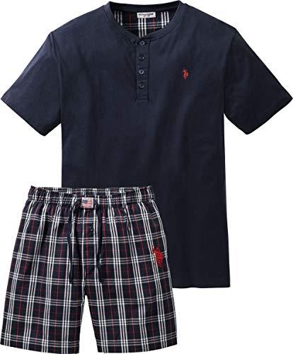 U.S. POLO ASSN. Herren Pyjama kurz, bequemes Pyjama-Set, Baumwoll Shirt & Shorts, komfortabler Schlafanzug für Männer, atmungsaktiv, Gr. M - 3XL