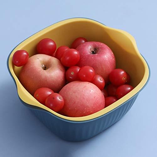 XGQ 5 PCS Ménage créatif Salon à Deux Couleurs Panier de vidange Cuisine Multi-Fonction Double Fruit Basket de légumes, Taille: S (Rose Bleu) (Color : Green Yellow)