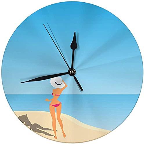 N/A moderne wandklok groot 9,8 inch vrouwen paraplu The Beach Round Kitch klok