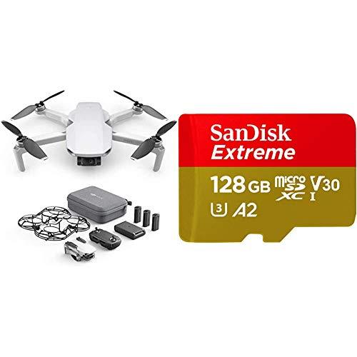 DJI Mavic Mini Combo Drone Leggero e Portatile + SanDisk Extreme Scheda di Memoria microSDXC da 128 GB