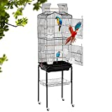 【STURDY CONSTRUCTION】our birdcage made of the highest-quality iron frame with a black powder paint to make the 64inch bird cage sturdy and durable. the parrot cage with 4 caster wheels at the bottom, easy glide non-marking casters allow for convenien...