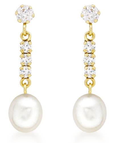Carissima Gold 9ct Yellow Gold Cubic Zirconia and Pearl Drop Earrings