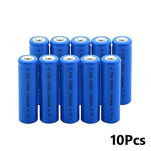Icr 14500 1500mah 3.7v Lithium-Akku, Weit Verbreitet für Taschenlampen Und Andere Elektronische GeräTe 10Pcs