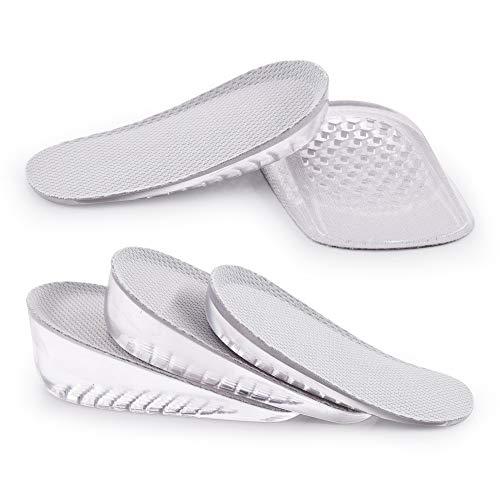 SAUDEfoot 1 par de plantillas de GEL para aumentar la altura del talón, inserciones invisibles para elevadores de zapatos, absorción de impactos, altura 1 - 3 cm (S para mujeres, peso: 1 cm, gris)